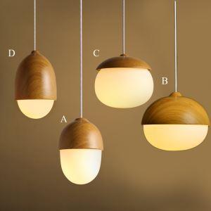 Suspension design en métal et verre couleur de bois pour chambre salle 4 modèles