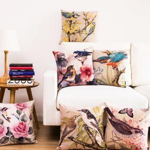 (Entrepôt UE) Américain Campagne Aquarelle des Fleurs et Oiseaux Six Modèles Canapés Bureau Oreiller
