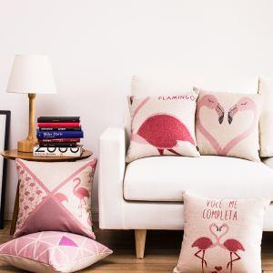 (Entrepôt UE) Style Nordique Motif de Flamingos Forme de coeur Cinq Modèles Canapés Bureau Oreiller