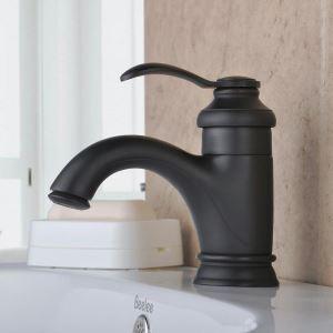 Mitigeur de lavabo laiton noir H14cm pour salle de bains