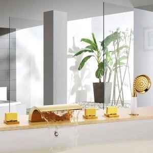 Robinet de baignoire avec douchette Ti-PVD 5 Trous 3 Poignées Rétro pour salle de bain
