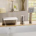 Robinet de baignoire avec douchette Nickel 3 Trous 1 Poignée pour salle de bain