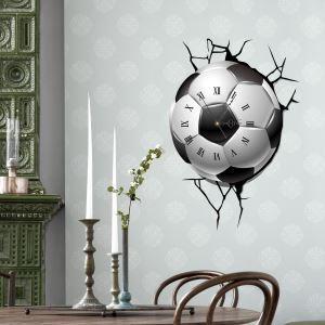 (Entrepôt UE) Moderne Simple Créative 3D  Football Personnalisés Autocollants de Mur Horloge Murale Silencieuse