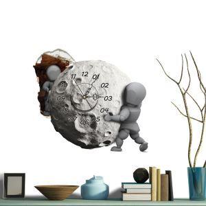 (Entrepôt UE) Moderne Simple Créative 3D Météorite  Autocollants de Mur Horloge Murale Silencieuse