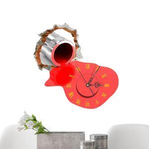 (Entrepôt UE) Moderne Simple Créative 3D Peinture Rouge Autocollants de Mur Horloge Murale Silencieuse