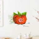 Moderne Simple Créative 3D Tomate Autocollants de Mur Horloge Murale Silencieuse