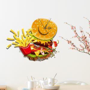 (Entrepôt UE) Moderne Simple Créative 3D Aliments Délicieux Autocollants de Mur Horloge Murale Silencieuse