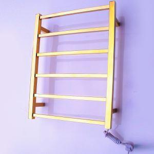 Support de Porte-serviettes Chauffage Electrique 60W thermostatique Or en Acier Inoxydable