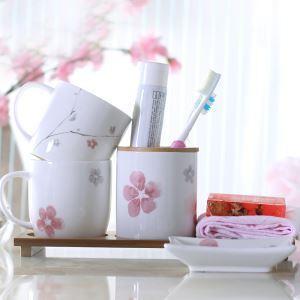 (Entrepôt UE) Moderne Style de Jardin Fleur du Prunier en Fil Or Céramique Créative Résine ensemble de Lavage 4 Pièces Accessoires de Salle de Bain