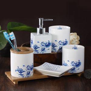 (Entrepôt UE) Moderne Fleur Blanc et Bleu Classique Céramique Créative Résine Kit de Lavage Accessoires de Bain 4/5 pièces fixes