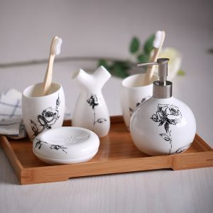 (Entrepôt UE) Style Européen Simple Céramique Créative Résine Kit de Lavage de Bain d'ensemble 5 Pièces Accessoires de Salle de Bain