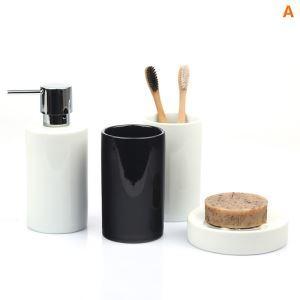 (Entrepôt UE) Moderne Cylindrique Céramique Créative Résine Kit de Lavage de Bain d'ensemble 5 Pièces Accessoires de Salle de Bain