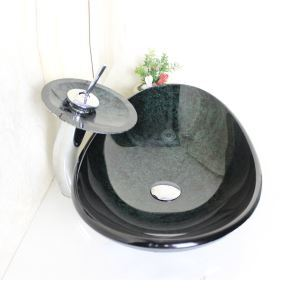 Vasque en verre trempé avec robinet cascade pour salle de bains