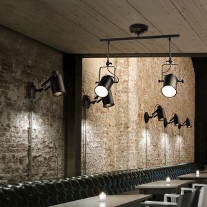 (Entrepôt UE) Réglette 2 spots Rétro Style Américain Salon magasin de vêtements peinture pôle d'éclairage projecteur