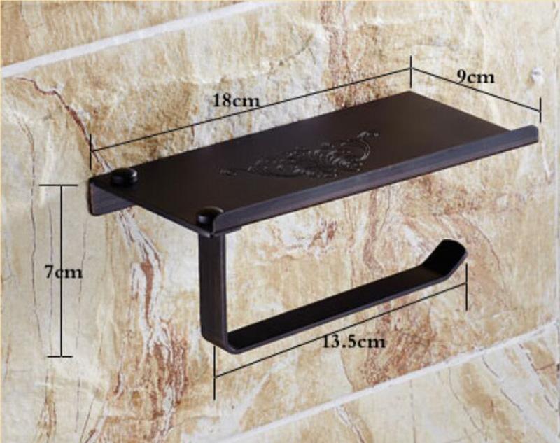 Style européen Accessoires de salle de bain en cuivre rétro en noir Porte-papier porte-téléphone