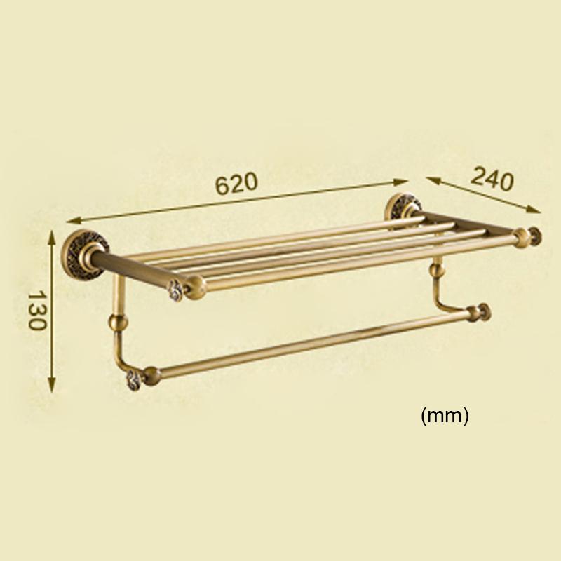 Style européen rétro accessoires salle de bain en cuivre Porte-serviettes
