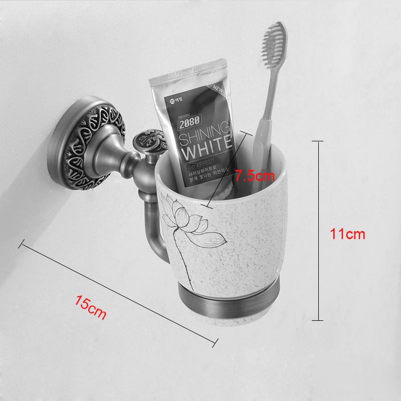 Style européen rétro accessoires salle de bain en cuivre porte-gobelets à dents unique