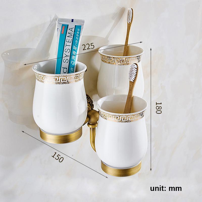 Style européen rétro accessoires salle de bain en cuivre porte-gobelets à dents trois tasses