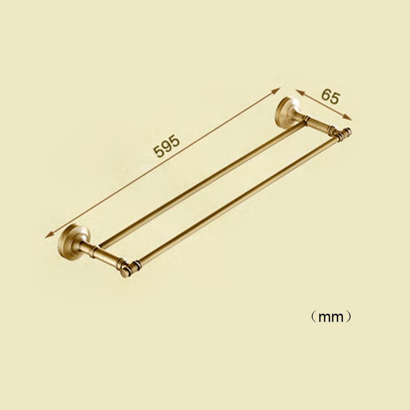 Style européen rétro accessoires salle de bain en cuivre Double barre de serviette