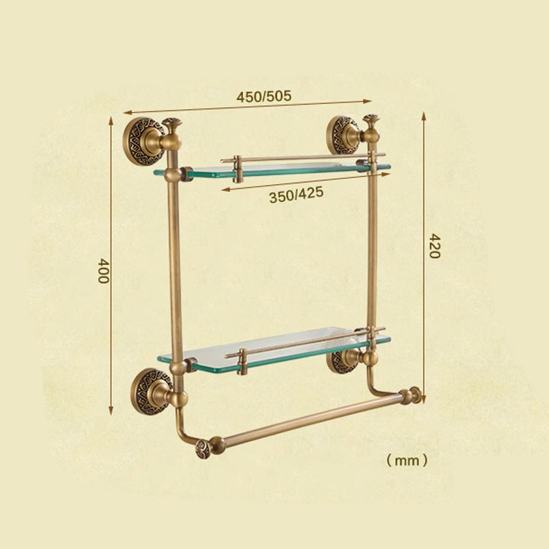 Style européen rétro accessoires salle de bain en cuivre Etagères à double couches