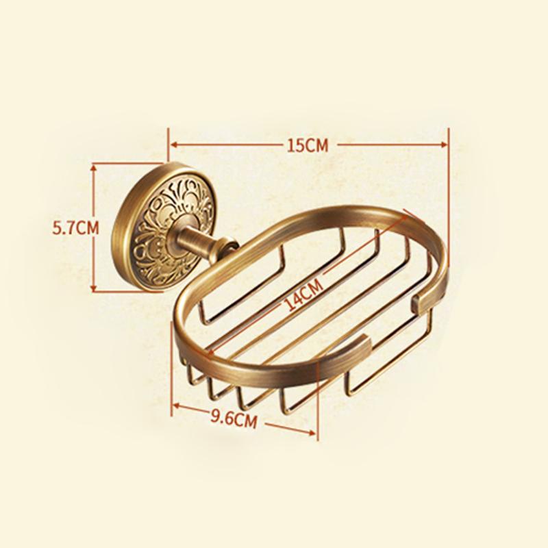(Entrepôt UE) Style européen rétro Accessoires de salle de bain en cuivre porte-savon