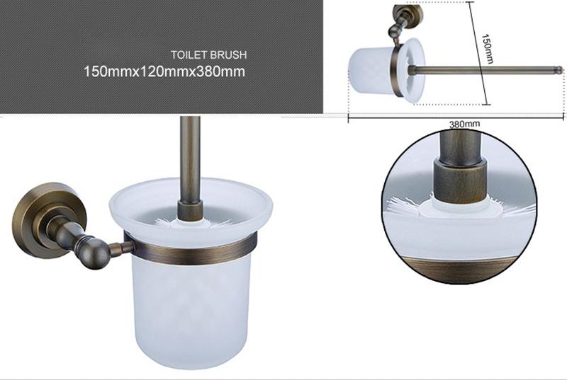 Style européen Accessoires de salle de bain en cuivre rétro support de brosse de toilette