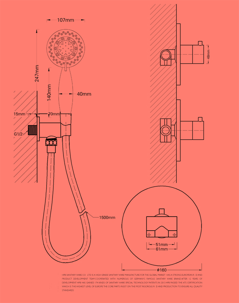 Robinet de douche pour salle de bain chromé style moderne simple installé au mur 2 trous 1 poignée