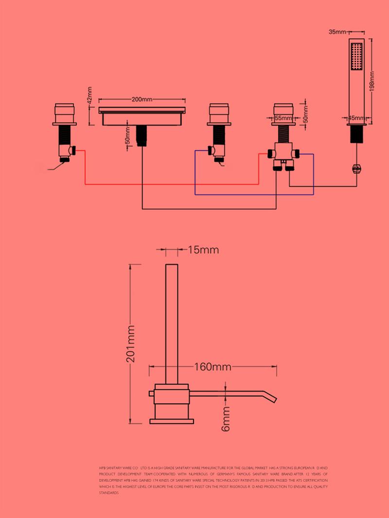 Robinet de douche cascade pour salle de bain chromé style moderne simple installé au mur 5 trous 3 poignées