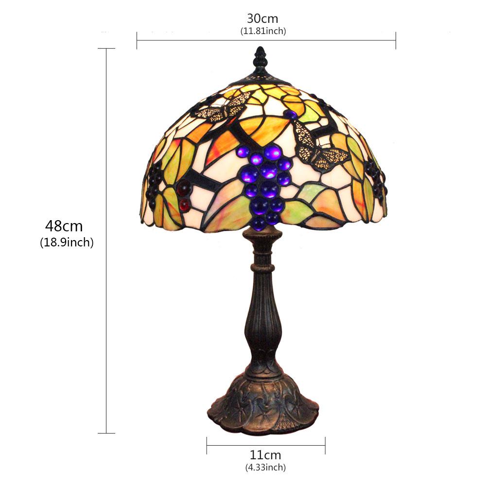Lampe Cuisine En Papillon Salon Chambre Pour Table Luminaire À Grappe Verre De Poser Chevet Raisin Tiffany lKTFcJ31