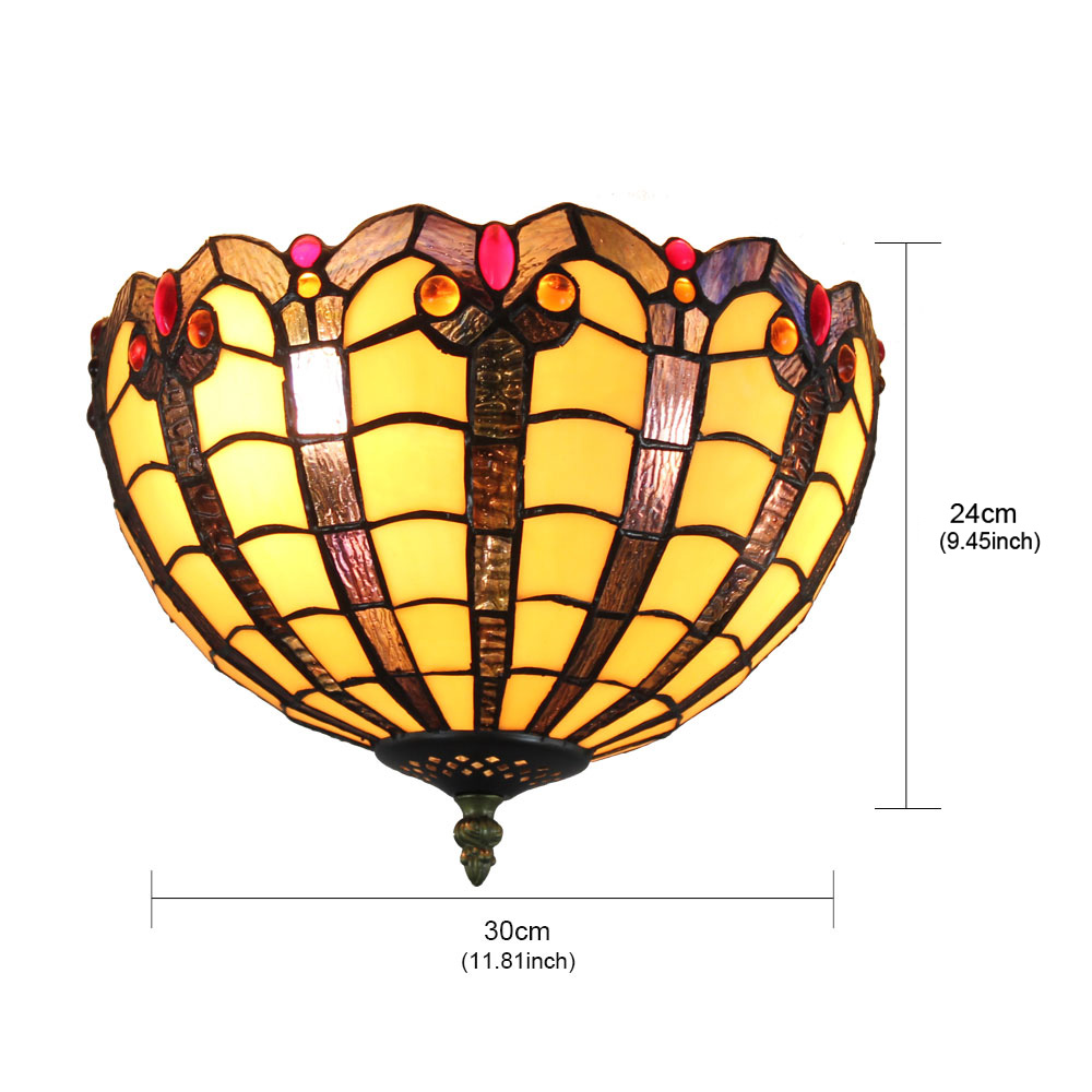 12inch Plafonnier Style Pastoral Européen Rétro abat-jour à motif colorée luminaire pour salon cuisine chambre