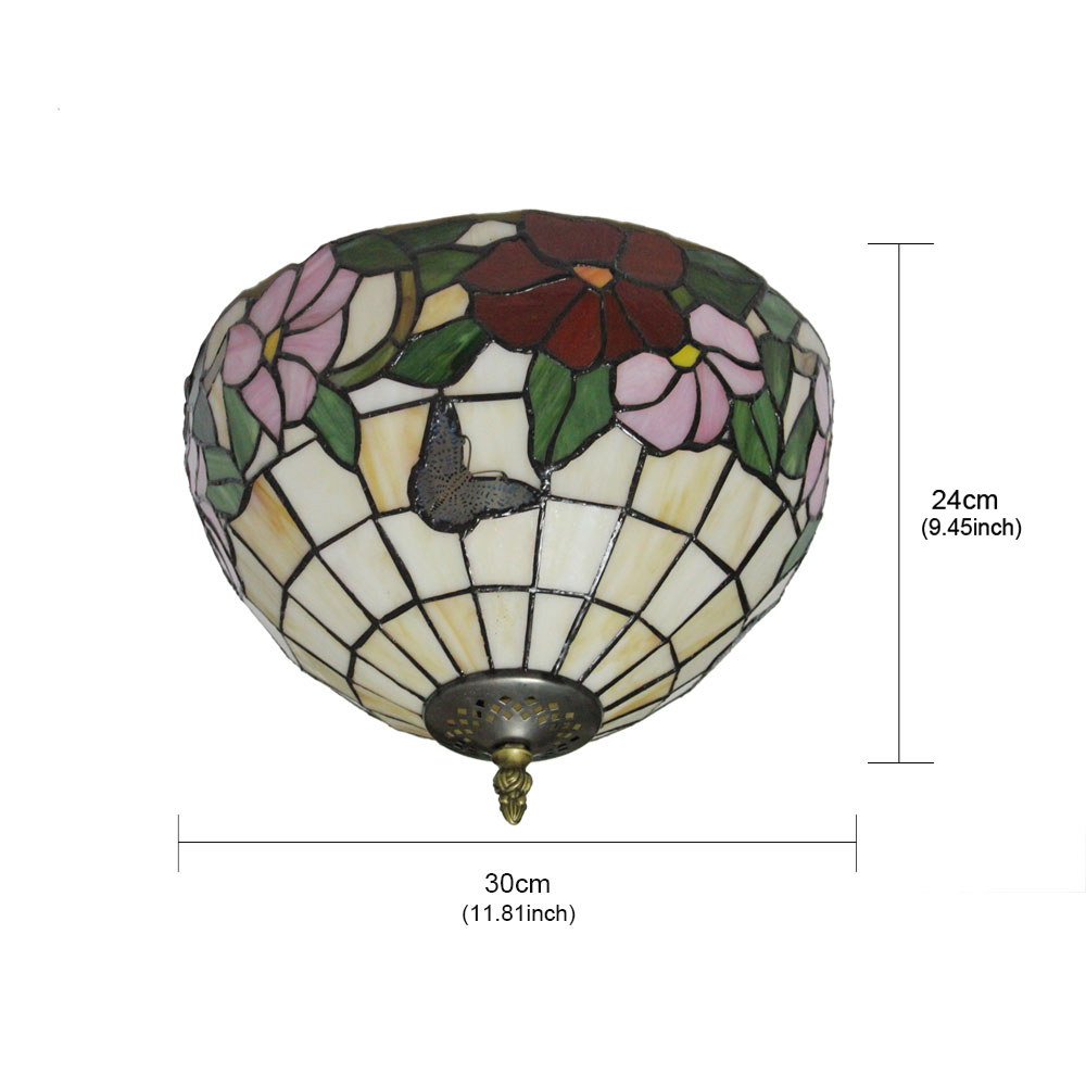 12inch Plafonnier Style Pastoral Européen Rétro abat-jour à motif des papillons et fleurs luminaire pour salon cuisine chambre