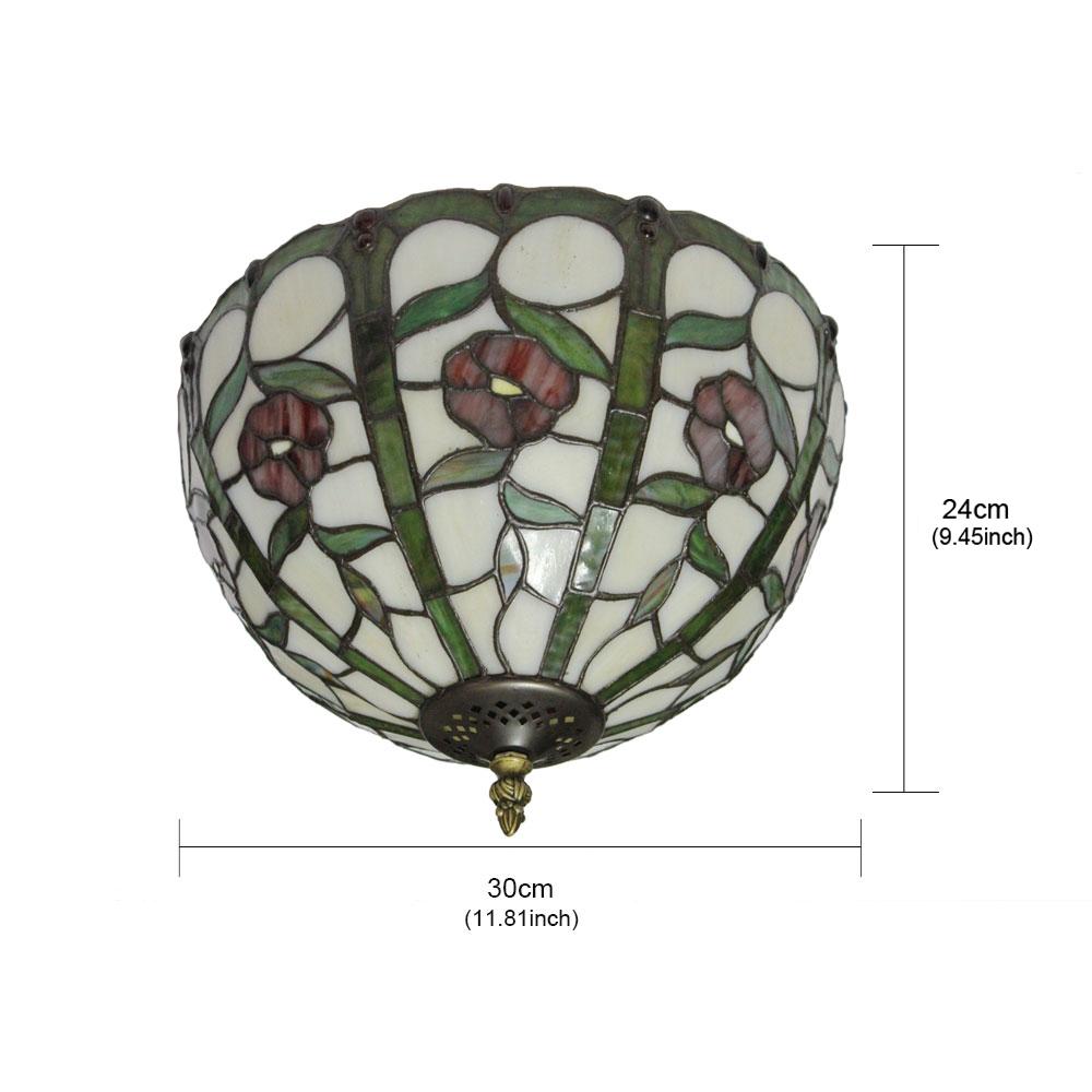 12inch Plafonnier Style Pastoral Européen Rétro abat-jour à motif des fleurs rouge luminaire pour salon cuisine chambre