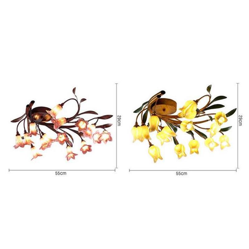 Style européen Vintage rétro Fer tulipe d'or/lys pourpre abat-jour vernissé 十5 lumières LED Plafonnier 2 modèles