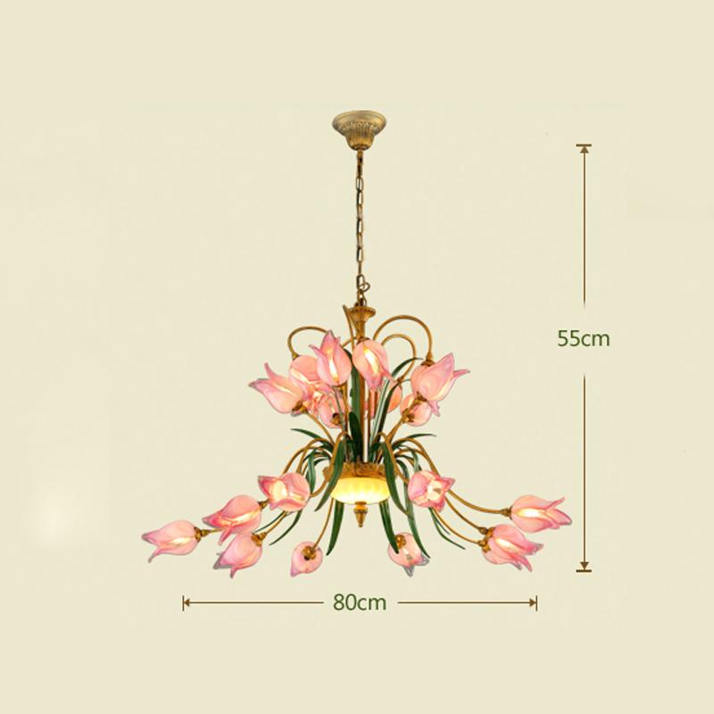(Entrepôt UE) Style européen Vintage rétro Fer fuchsia tulipe abat-jour vernissé 20 lumières LED Lustre