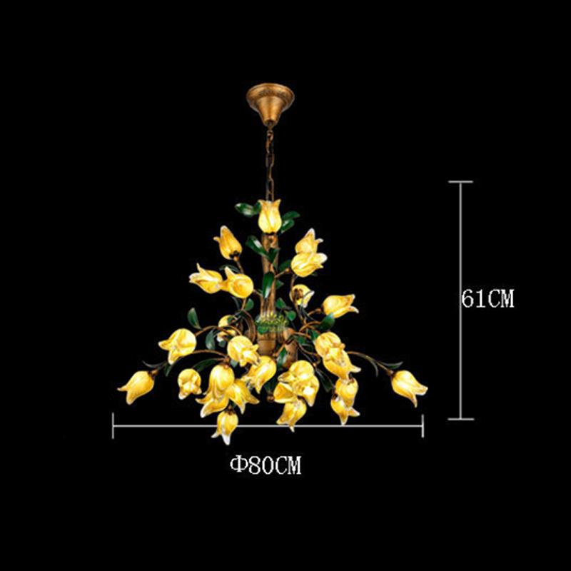 (Entrepôt UE) Style européen Vintage rétro Fer d'or tulipe abat-jour vernissé 27 lumières LED Lustre