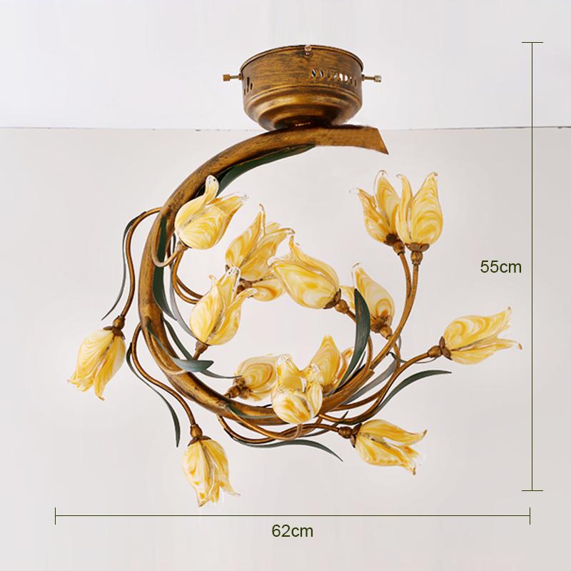 Style européen Vintage rétro Fer d'or tulipe abat-jour vernissé avec 5 lumières LED Plafonnier