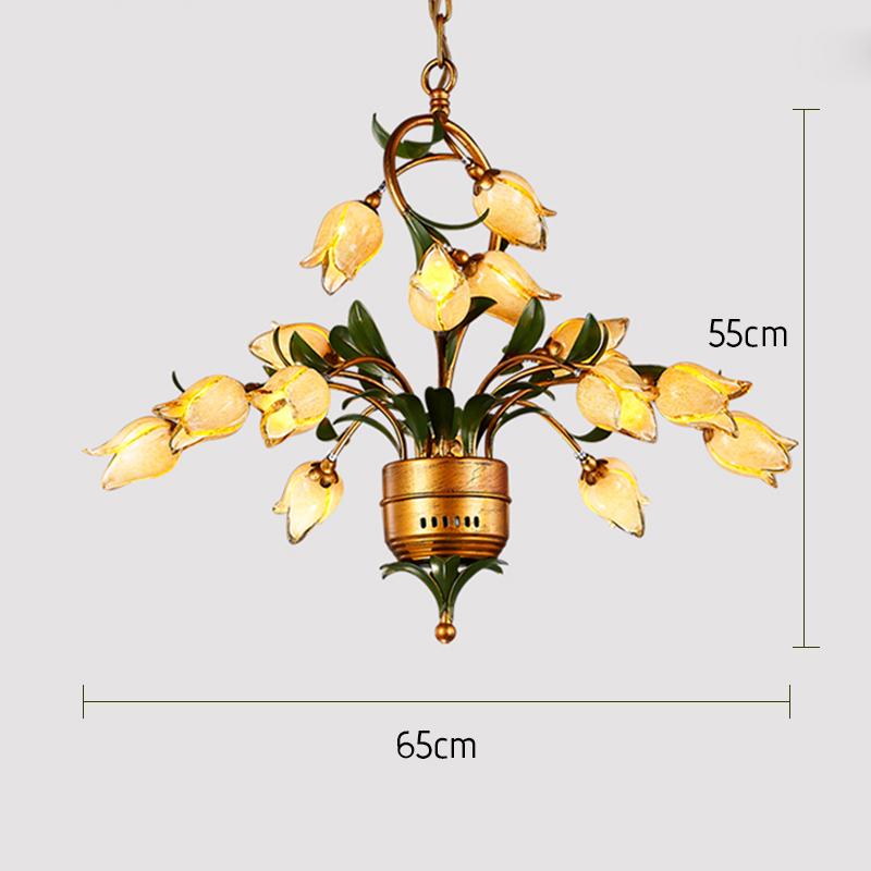 Style européen Vintage rétro Fer d'or tulipe abat-jour vernissé avec 5 lumières LED Lustre