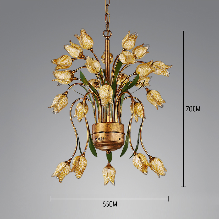 Style européen Vintage rétro Fer d'or tulipe abat-jour vernissé 25 lumières LED Lustre