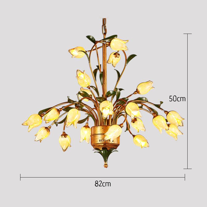 (Entrepôt UE) Style européen Vintage rétro Fer d'or tulipe abat-jour vernissé 21 lumières LED Lustre