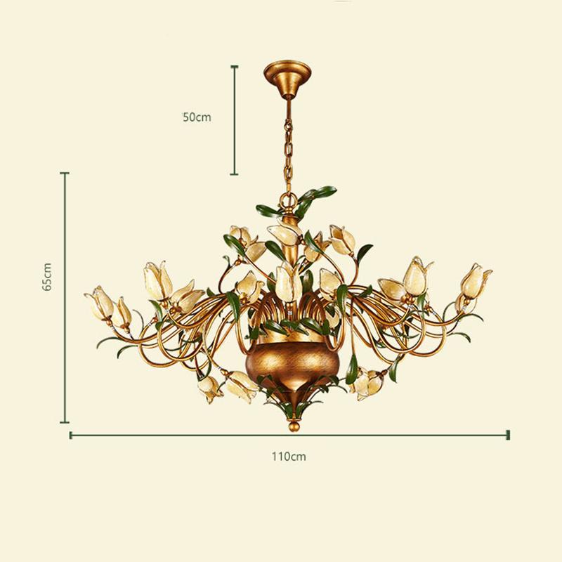 (Entrepôt UE) Style européen Vintage rétro Fer d'or tulipe abat-jour vernissé 30 lumières LED Lustre