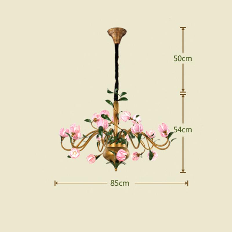 (Entrepôt UE) Style européen Vintage rétro Fer tulipe/lotus/lys en fuchsia pourpre abat-jour vernissé 20 lumières LED Lustre 3 modèles