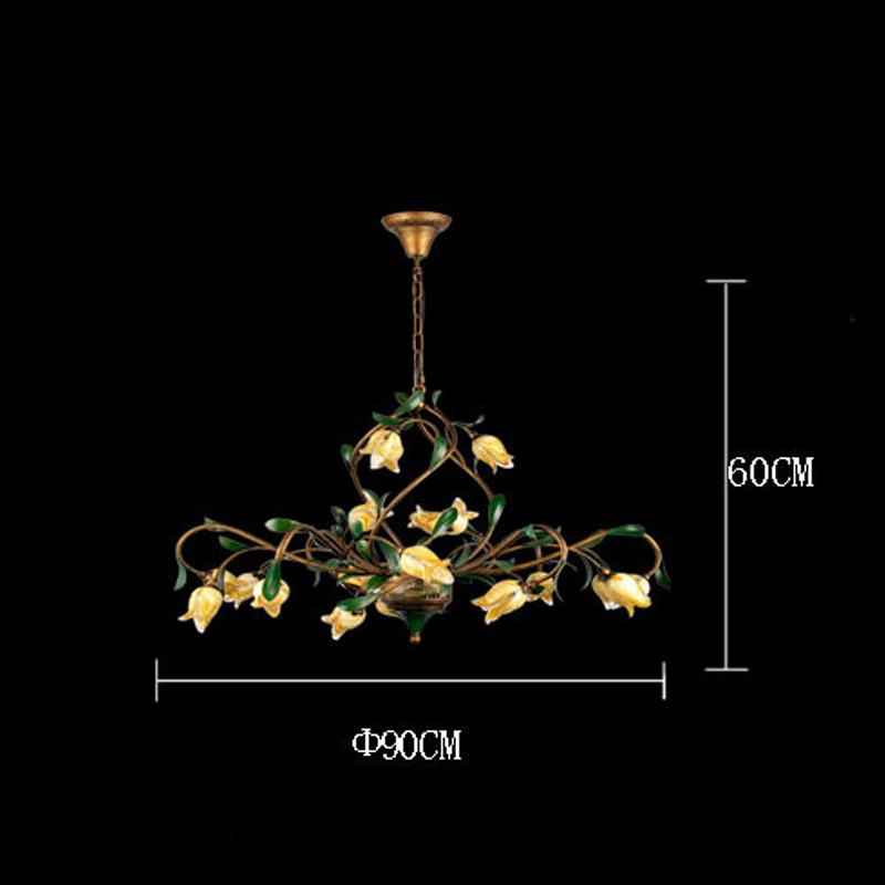 Style européen Vintage rétro Fer d'or tulipe abat-jour vernissé 21 lumières LED Lustre