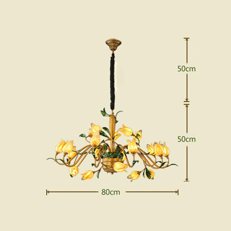 (Entrepôt UE) Style européen Vintage rétro Fer d'or tulipe abat-jour vernissé 20 lumières LED Lustre