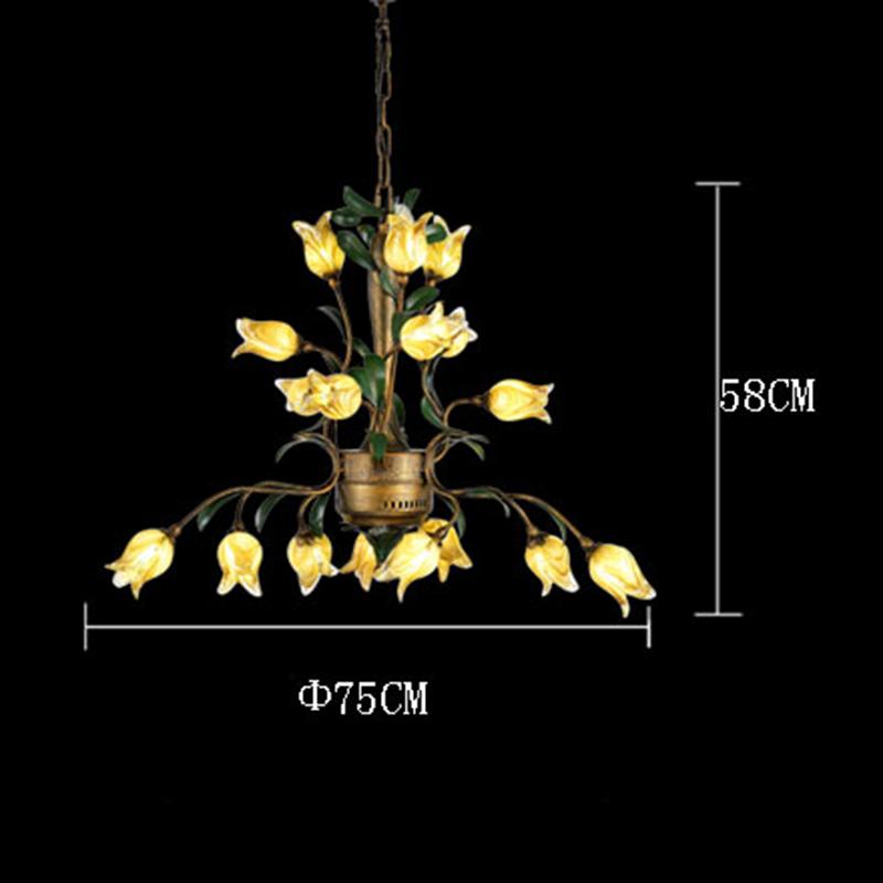 Style européen Vintage rétro Fer d'or tulipe abat-jour vernissé 8 lumières LED Lustre