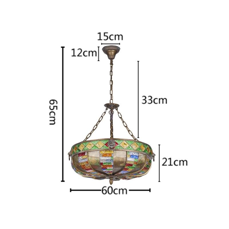 (Entrepôt UE) Style européen Abat-jour en verre coloré matériel en fer 3 lumières Suspension