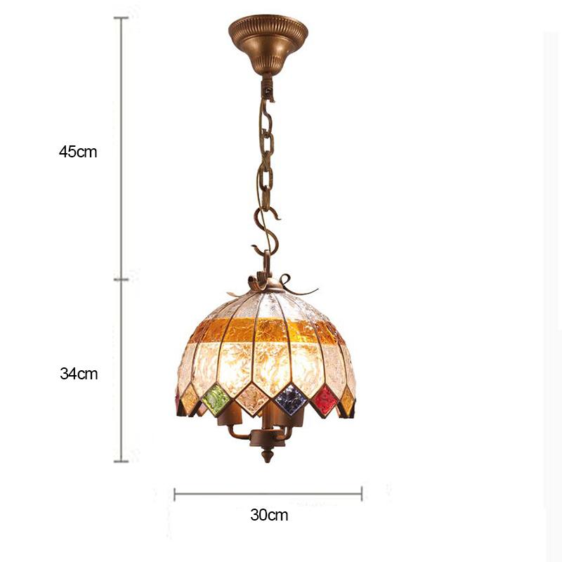 (Entrepôt UE) Style européen Abat-jour en verre coloré matériel en fer 2 lumières Suspension diamètre 30cm