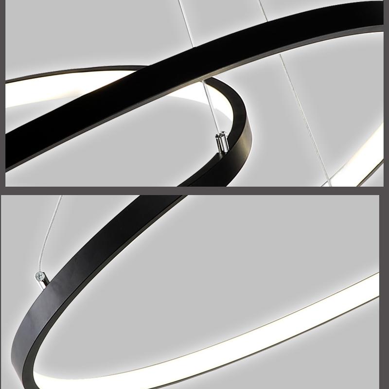 Moderne simple LED suspension en aluminium Lampe décorative noir/or 3 anneaux 80+60+40cm
