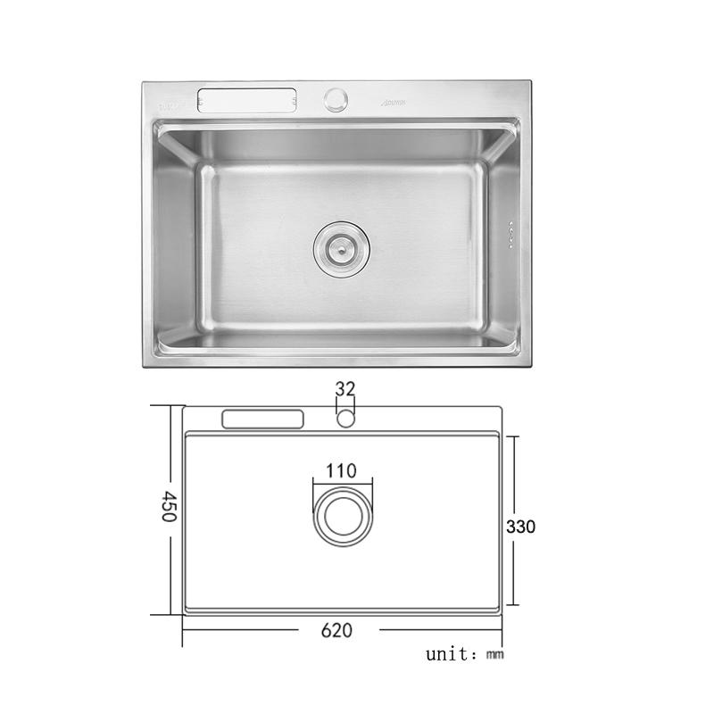 Moderne évier à encastrer en acier inoxydable 304, 1 bac carré avec oanier de vitage et porte couteau pour cuisine 6245L